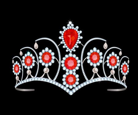 tiare de diamants de rubis et de perles sur un fond noir