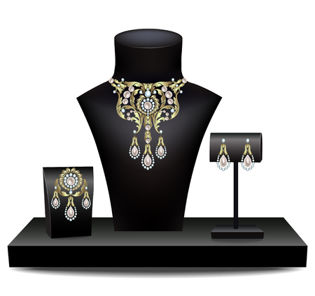 dummies: Necklace, brooch and earrings with pearl and diamonds on dummies