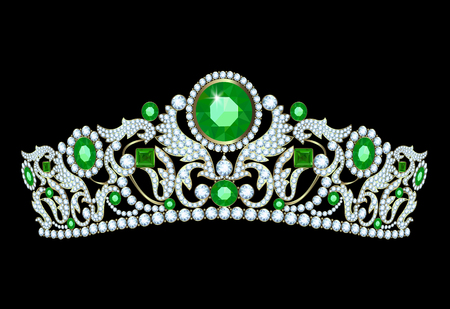 beauty queen: Diamond tiara with emerald accents on a black background