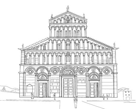 Drawing Cathedral of Santa Maria Assunta in Pisa. Italy