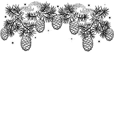 Silhouette illustration Christmas border of pine branches with cones