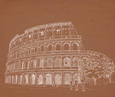 colosseum: Drawing Roman Colosseum chalk on a brown background