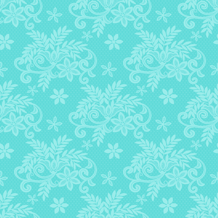 Turquoise lace with floral pattern on a dark turquoise background
