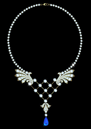 diamond necklace: Diamond necklace with a pendant of sapphire on a black background