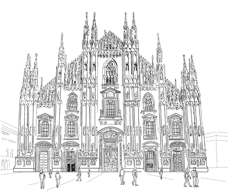 cathedrals: Milan Cathedral. Gothic architecture. Illustration