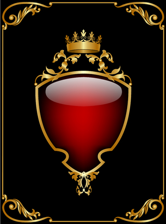 burgundy background: Black shield with a crown on burgundy background