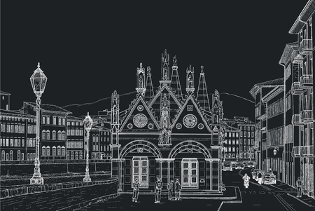 black maria: Sketch of the Church of Santa Maria della Spina in Pisa. Painted with chalk on black
