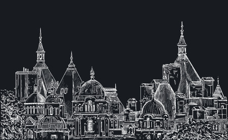 old city: Sketch panoramas central part of London. Painted with chalk on black Illustration
