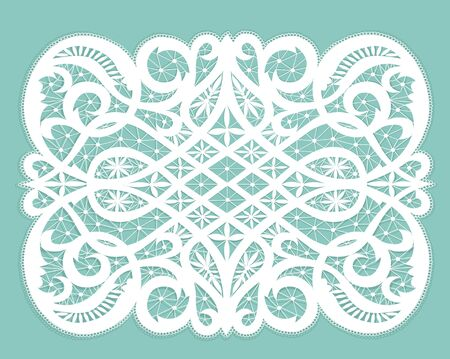 doily: White lacy doily with flowery pattern on a turquoise background Illustration