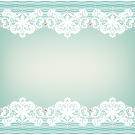 lace edgings with pearls on a green background Vettoriali