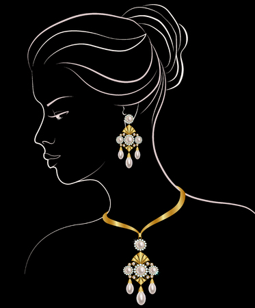 earrings: Fashion illustration of woman with pearl necklace and earrings