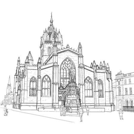 edinburgh: Drawing sv.Gillis Church in Edinburgh Scotland. Vector
