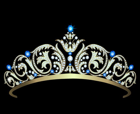 Vintage gold diadem decorated with diamonds and sapphires