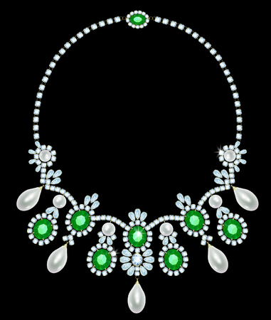 diamond necklace: Diamond necklace with emeralds and pearls suspension
