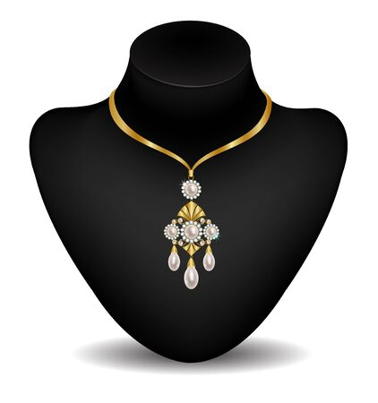 dummy: Gold necklace with pearls on a dummy Illustration