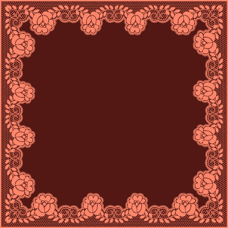 maroon background: Elegant pink lace frame on a maroon background