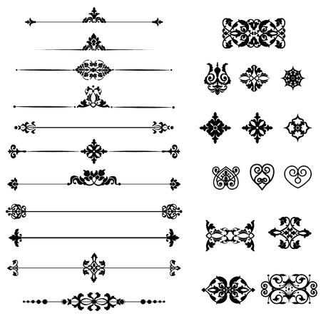 Collection de bordures décoratives noires et d'éléments de diviseurs