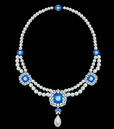 Pearl necklace with inserts made of sapphires and diamonds Vettoriali
