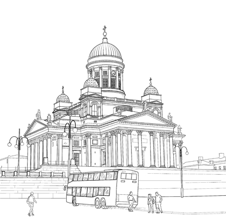st nicholas cathedral: Sketch of St. Nicholas Cathedral in Helsinki. Finland