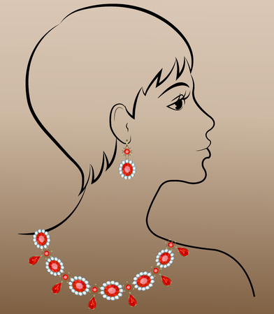 earrings: Fashion illustration of woman with necklace and earrings Illustration