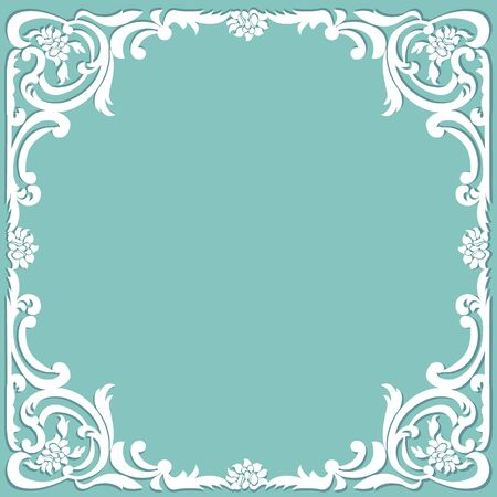 White vintage frame in baroque style on a turquoise background Vector Illustration