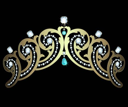 beauty queen: Gold diadem decorated with diamonds and aquamarines
