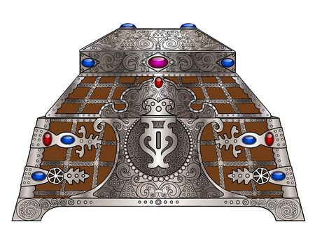 jeweled: The old casket wrought silver and jeweled Illustration