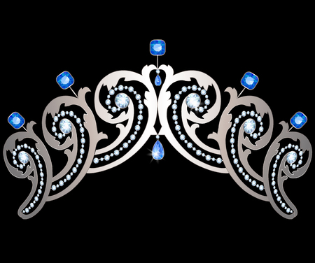 sapphires: Silver diadem decorated with diamonds and sapphires