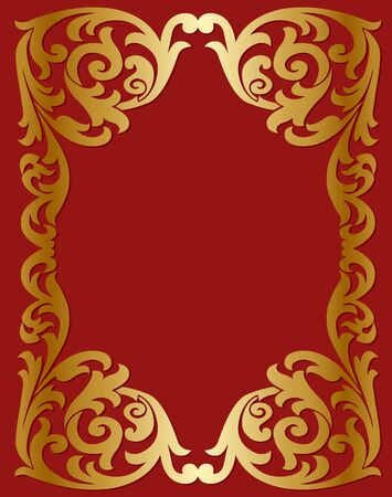 vegetative: Gold frame with a vegetative ornament on a red background