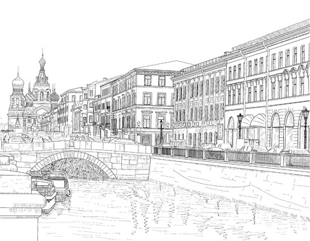 Drawing on the channel Griboyedov streets of Saint Petersburg
