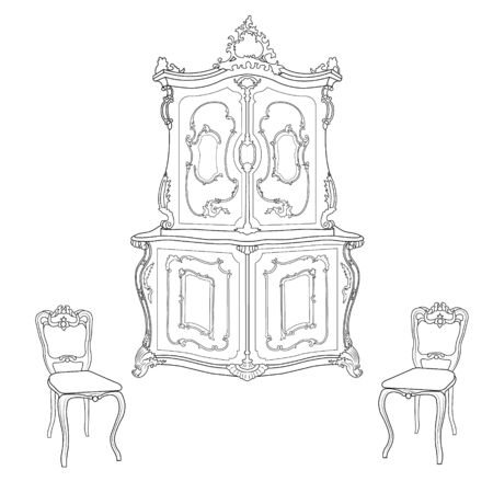 18th century style: Drawing cabinet and two chairs in the Baroque style