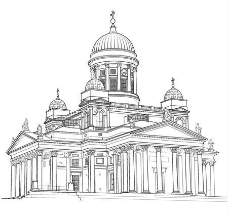 Drawing of St. Nicholas Cathedral in Helsinki. Finland