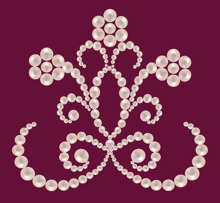 maroon background: Floral ornament from pearls on a maroon background