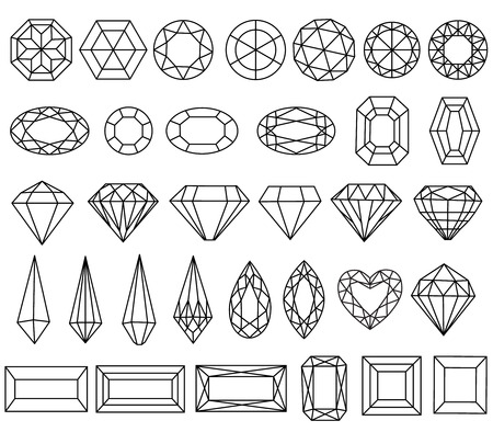 gemstone: Graphic drawing gemstone faceting patterns on a white background