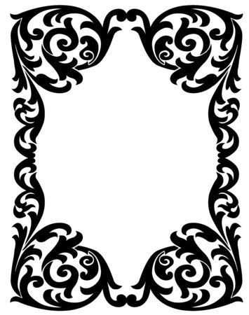 vegetal: Black vintage frame with a vegetal design