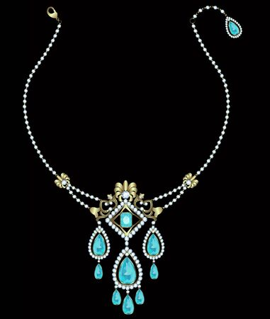 gold necklace: Gold necklace with diamonds and aquamarine pendants