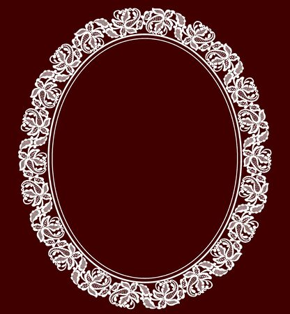 maroon: White lace lace frame on a maroon background