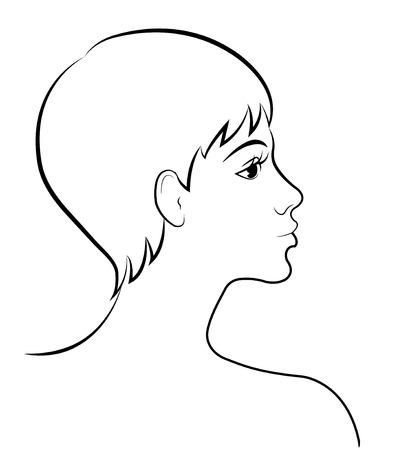 Croquis d'une femme de profil avec de l'encre
