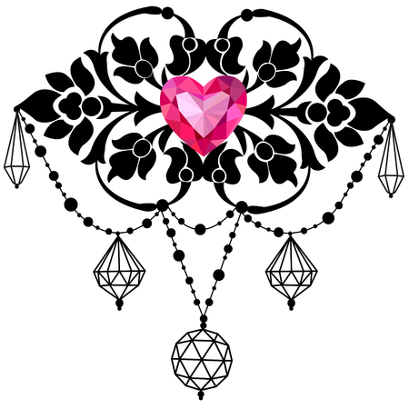 Graphic decorative ornament with crystals , beads and ruby heart