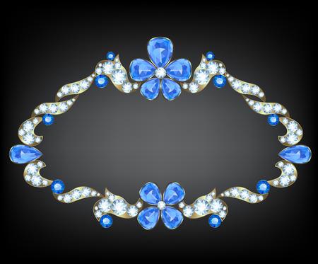 sapphire: Tarjeta de la vendimia de la joyería con diamantes y zafiros