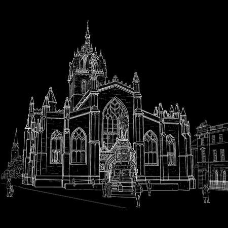 Drawing sv.Gillis Church in Edinburgh Scotland. Painted with chalk on black