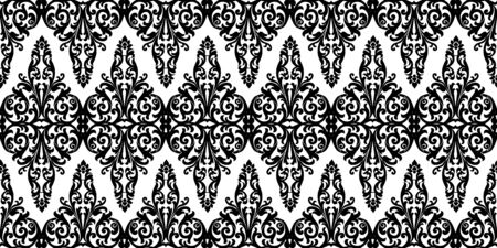 Vintage seamless background with black floral pattern