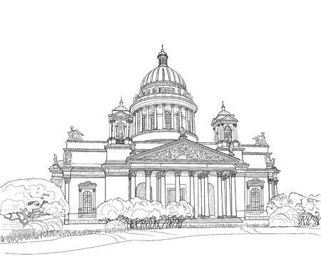Croquis de la cathédrale Saint-Isaac à Saint-Pétersbourg