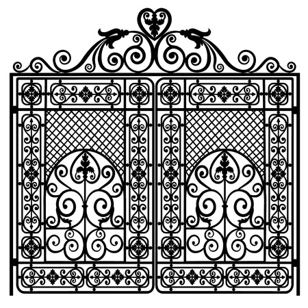metal gate: Black metal gate with forged ornaments on a white background