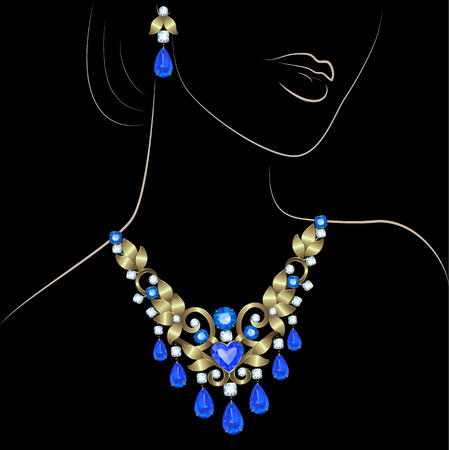 Outline sketch of elegant woman and necklace with diamonds and sapphires on black background