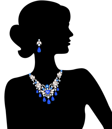 Silhouette of a woman in a necklace with diamonds and sapphires and earrings Vettoriali