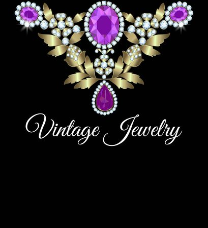 amethyst: Jewelry vintage card with diamonds and amethyst