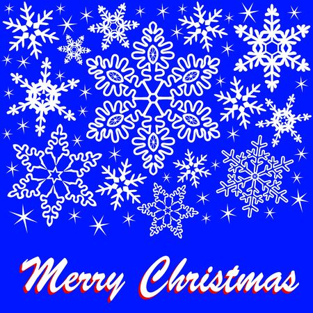 chrstmas: Christmas greeting card with snowflakes and text on a dark blue background