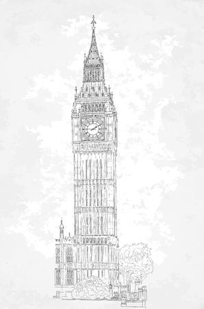 london big ben: Sketch of London Big Ben tower. Vector Illustration