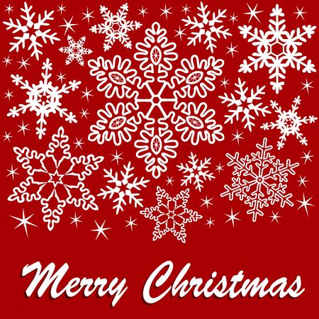 chrstmas: Christmas greeting card with snowflakes and text on a red background Illustration